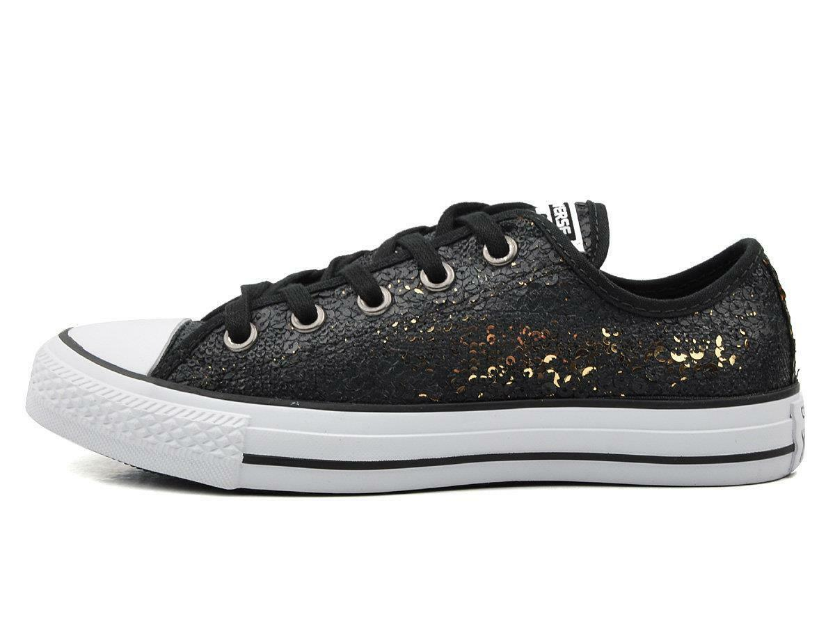 CONVERSE CHUCK TAYLOR ALL STAR CT AS OX SEQUIN SEQUINS 551554C BLACK/GOLD/WEISS