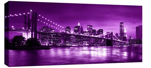 "CANVAS ARTWORK LONG LARGE NEW YORK PURPLE  42/""x20/"""
