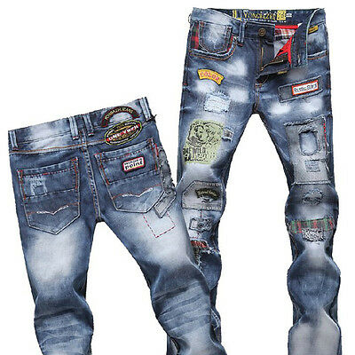 R69 New Fashion Man Slim jeans trousers tide washed cotton jeans ripped Jeans