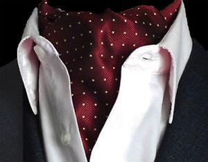 Burgundy-Red-amp-Gold-Yellow-Polka-Dot-Mens-Silk-Cravat-Ascot-Tie-Scarf-Gift-a17