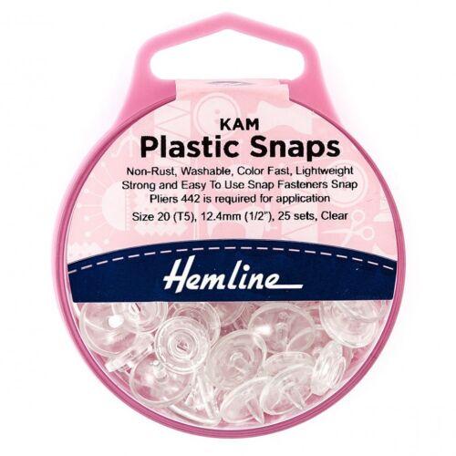 Hemline KAM SNAP IN PLASTICA-PER CONFEZIONE DI 25 H443. Blac-M