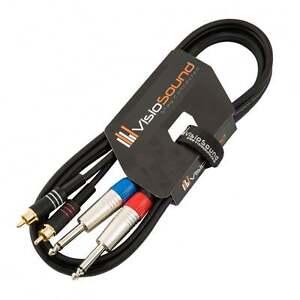 2-x-6-35mm-1-4-034-Mono-Jack-to-2-x-RCA-Phono-Plug-Twin-Lead-Audio-Signal-Cable