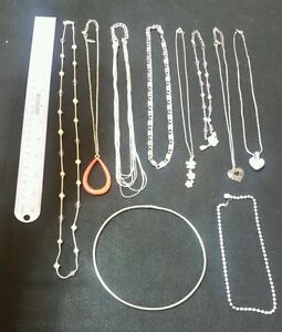 (10) SILVER FASHION JEWELRY NECKLACE LOT! PD NY HELLO KITTY