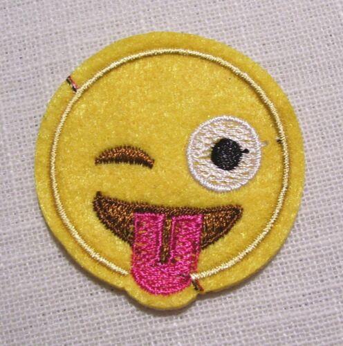 SMILEY CLIN D/'OEIL TIRE LANGUE 4,5 cm * PATCH écusson APPLIQUE thermocollant