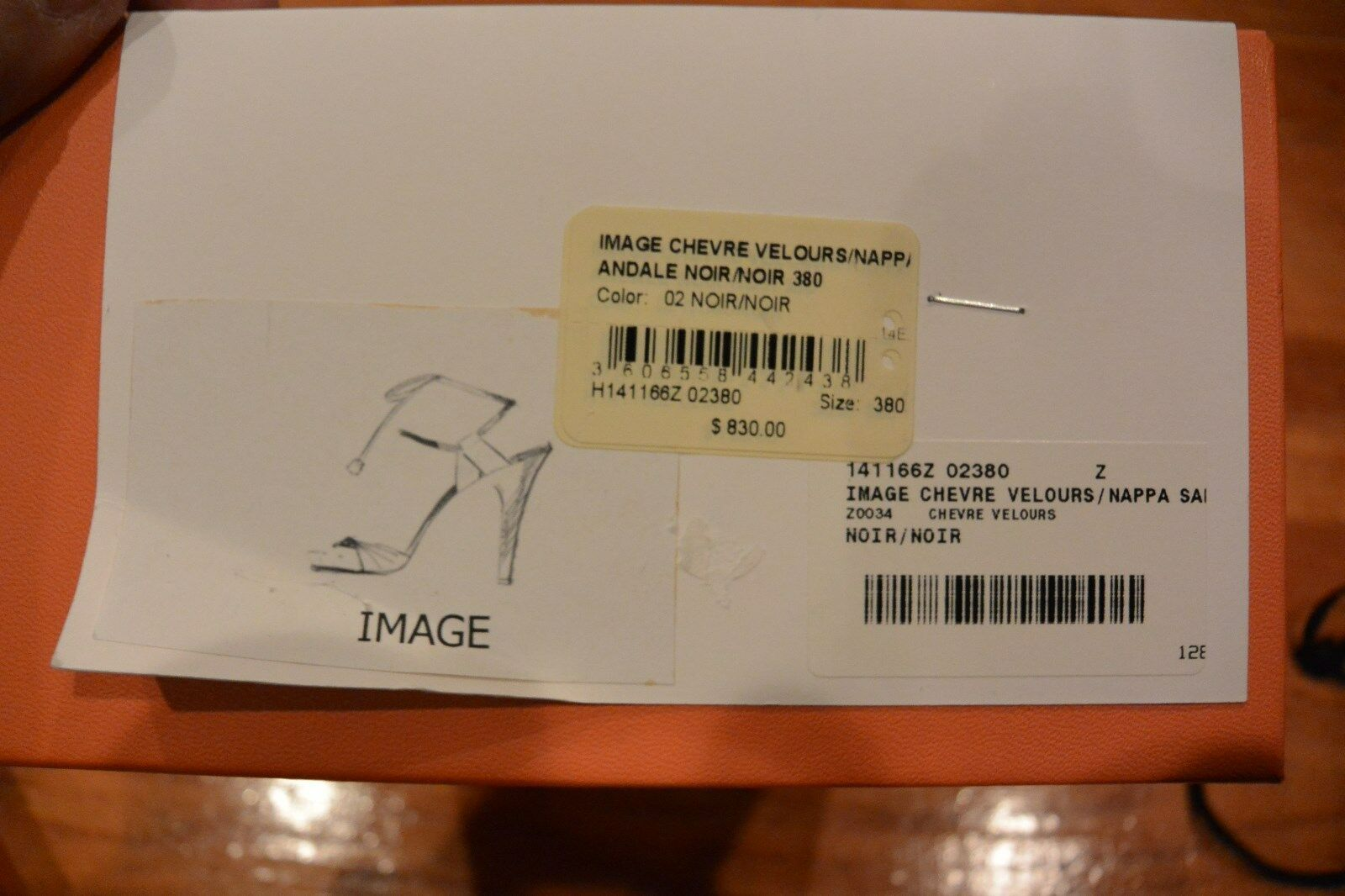 NIB HERMES HERMES HERMES Image Chevre Velours  Nappa Leather & Suede Lace Heel Open Toe,  904 67a174
