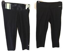 A-Lot-of-2-Victoria-039-s-Secret-Pink-Black-Logo-Pink-Yoga-chop-Legging-pocket-Small