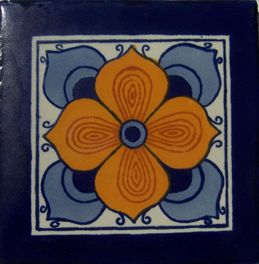 C115- Mexican Handmade Talavera Clay Tile Folk Art 4x4