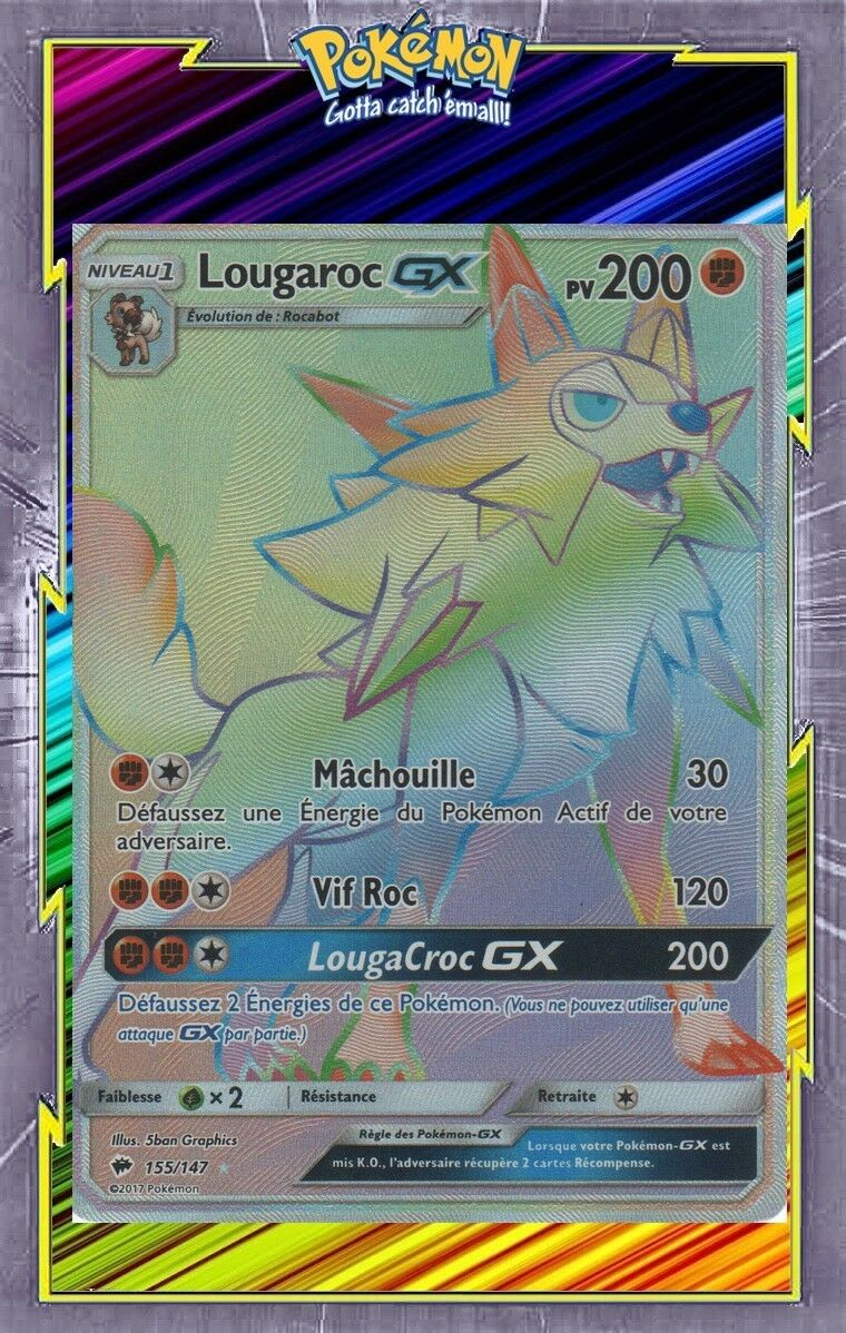 Lougaroc GX Secret-sl03  or mbres Ardentes 155 147 Cards Pokemon NEW