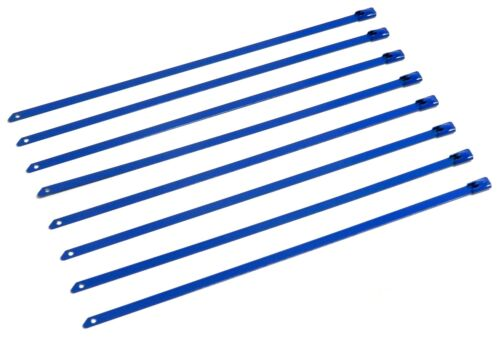 """QTY 12 8/"""" UNIVERSAL STAINLESS STEEL ZIP TIE CABLE FOR EXHAUST HEADER WRAP BLUE"""