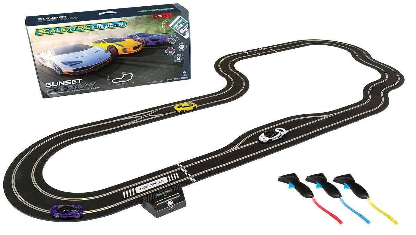 Scalextric ARC PRO Sunset Speedway - Lambo Jag Mclaren 1 32 Slot Car Set C1388T