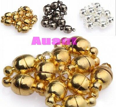 Hot 10 Sets Silver/Gold Plated Round Ball Magnetic Clasps 6mm/8mm For Jewelry