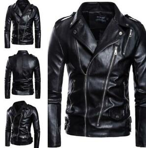 Men Punk Slim Leather Jacket Biker Motorcycle Jacket Bomber Outwear Coat Retro