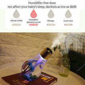 Bulb Humidifier Air Ultrasonic LED USB Essential Oil Diffuser Atomizer Car//Home