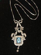 Vintage Diamond & Topaz pendant necklace 18k