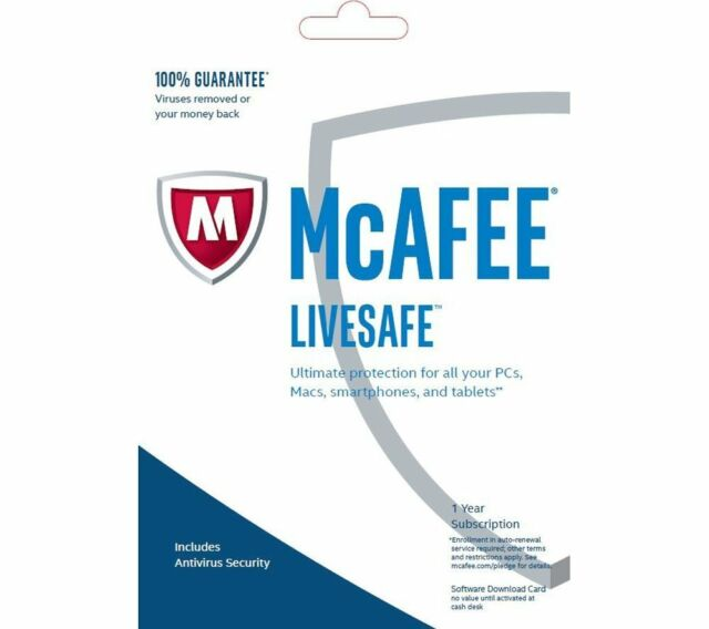 McAfee LiveSafe 2018 Unlimited Devices / 1 Year Antivirus