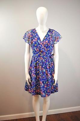 MOULINETTE SOEURS Sz 8 NWT $148 Anthropologie Blooming Sapphire Wrap Dress [3G]