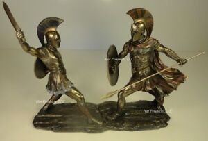 Details about ACHILLES vs HECTOR Battle of Troy GREEK MYTHOLOGY Sculpture  Statue Bronze Finish