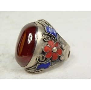 Superb tibet-silver handwork inlay green jade Cloisonne Red flower Adjust ring