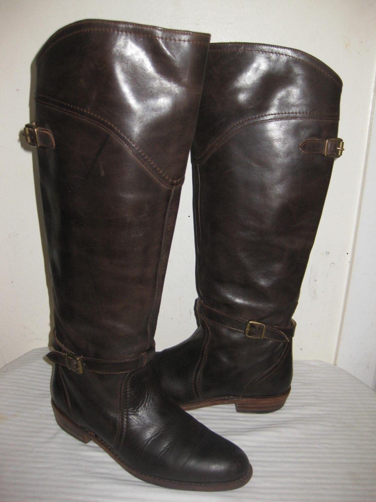 Frye Dorado  Women's Dark Brown Leather Riding Boots Shoes Women's  Size 7 dd70c6