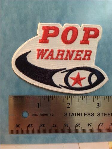 "pop warner patch football patch 3.25/"" wide iron-on heat seal  backing popwarner"