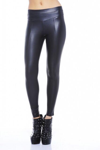 70cd8122cb35 AX Paris Womens Trousers Black Wet LOOK Leggings Casual Ladies Pants ...