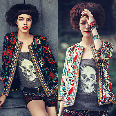 Fashion Women Long Sleeve Embroidery Print Slim Blazer Suit Jacket Coat Outwear