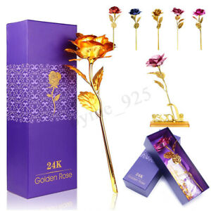 Gold Plated Rose Flower 24K Gold Plated Valentine's Day Gift Last Forever Xmas