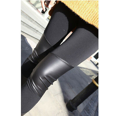 Charming Sexy fashion ladies black leather stitching and elastic tights