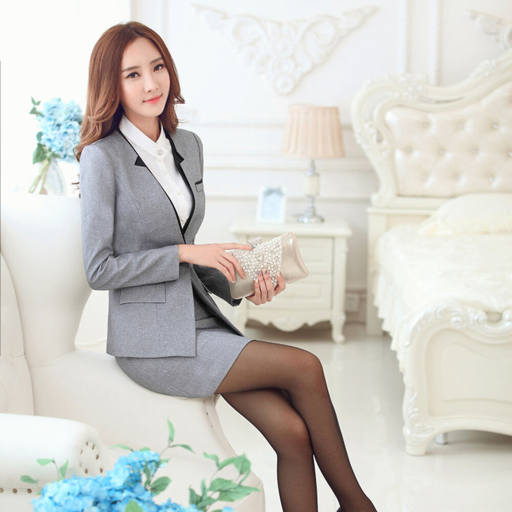Womens Spring Fashion Suits Formal Blazers Office Ladies Dress Skirt Suit coats