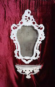 Wandspiegel mit Ablage Konsole als SET SPIEGEL 50X76 ANTIK BAROCK WEIß 118S