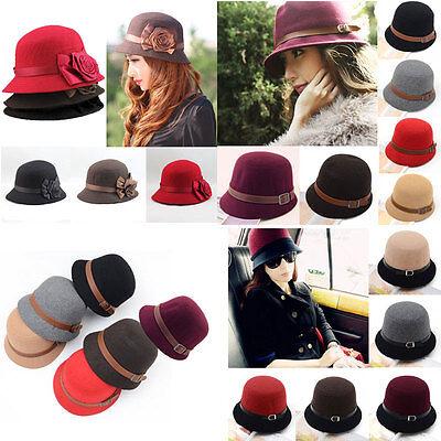 Vintage Women Fedora Dome Felt Block Belt Cloche Flower Rose Headwear Bucket Hat