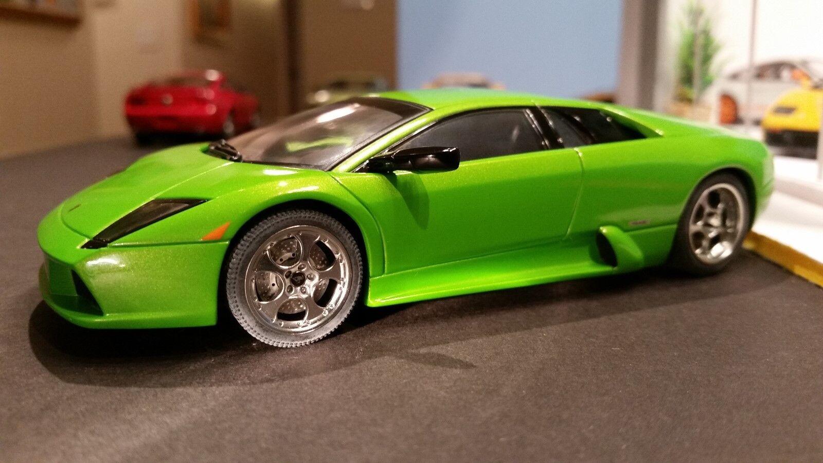 Autoart Slot Coche 1 32 Lamborghini Murcielago verde lámparas de iluminación nuevo todas las ruedas motrices 13023