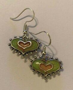 Brighton-PORTOBELLO-Green-amp-Pink-HEARTS-Scrollwork-Silver-Custom-Earrings