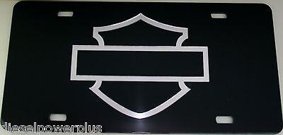 harley davidson motorcycle black chrome  license plate tag silouhette out line