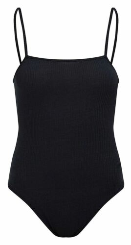 Ladies Knitted Ribbed Square Neck Stretch Camisole Strappy Bodysuit Leotard Top