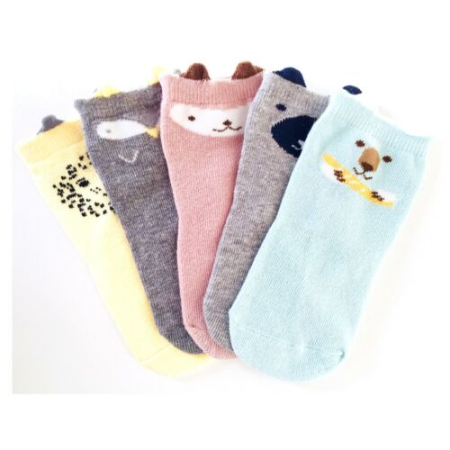 Unisex 5 Pairs Soft Cotton Fun Animal Crew Socks Ages 2-3.5 UK