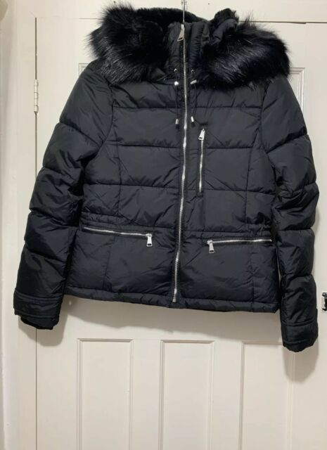 d2f8a4df1 ZARA BLACK WATER RESISTANT SORONA DUPONT PUFFER JACKET WITH FAUX FUR HOOD M  NEW