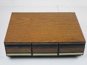 Music faux Wood Vintage 3-drawer Audio Cassette Tale Storage Deck