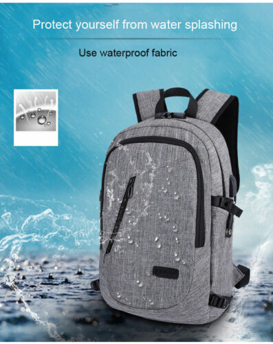 Anti-theft Men Women USB Charge Port Laptop Notebook Backpack School Travel Bag