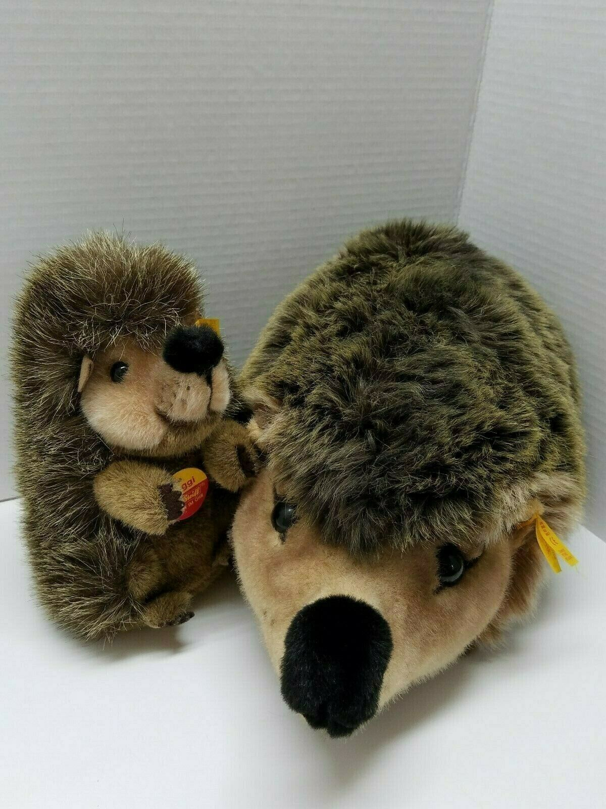 Steiff hedgehog Mother and Baby pair made in Germany Gold Button and Hung tags.