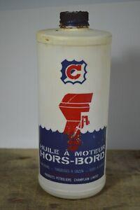 Champlain-Outboard-Motor-Oil-Plastic-Bottle-Huile-a-Moteur-Hors-Bord-Quebec