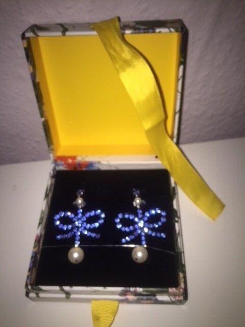 ERDEM X H&M Ohrringe Clips blue Strass Perlen Crystal Earrings bluee pearl new