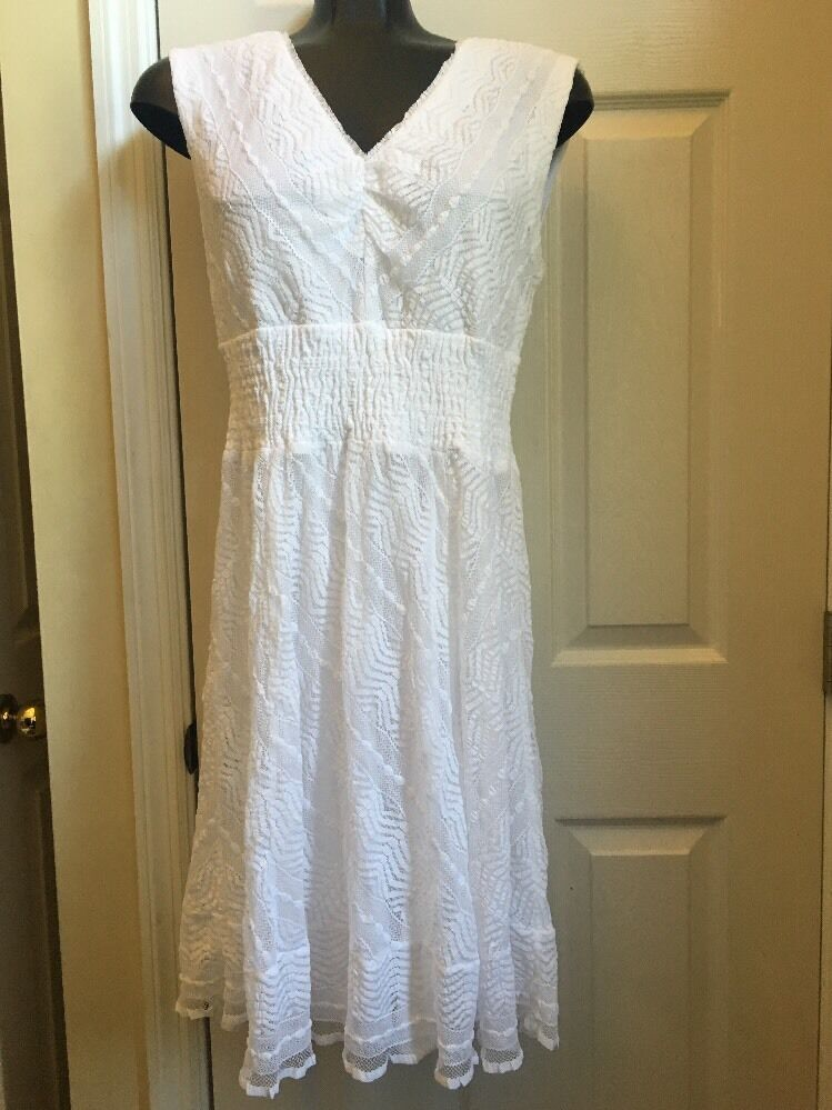 Rabbit Rabbit Rabbit Design White Lace Dress Dress Dress Sz 10. 73a73b