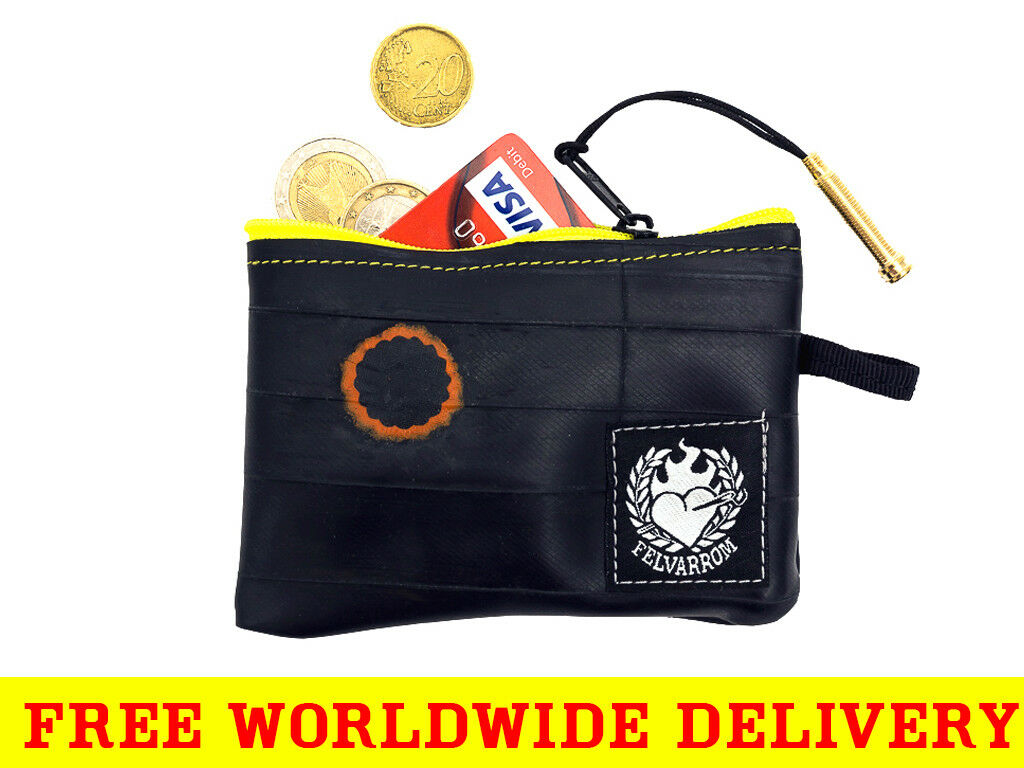 YELLOW COIN PURSE Wallet from Eco Reclaimed Bicycle Inner Tube + FREE DELIVERY