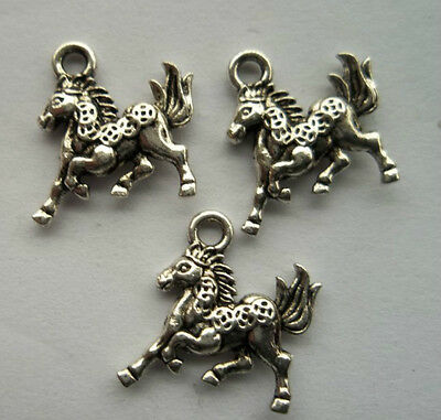 20pcs Tibetan silver horse charm pendant 15x14 mm