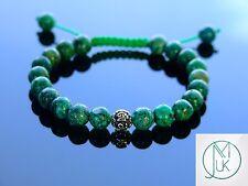 Azurite Om Sterling Silver Natural Gemstone Bracelet 7-8'' Macrame Healing Stone