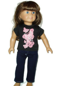 Butterfly-T-Shirt-amp-Jeans-Outfit-fits-American-Girl-Dolls-18-inch-Doll-Clothes