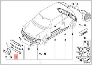genuine mini cooper r50 r52 r53 front bumper lower grille oem rh ebay com mini cooper front bumper diagram 2002 mini cooper front suspension diagram