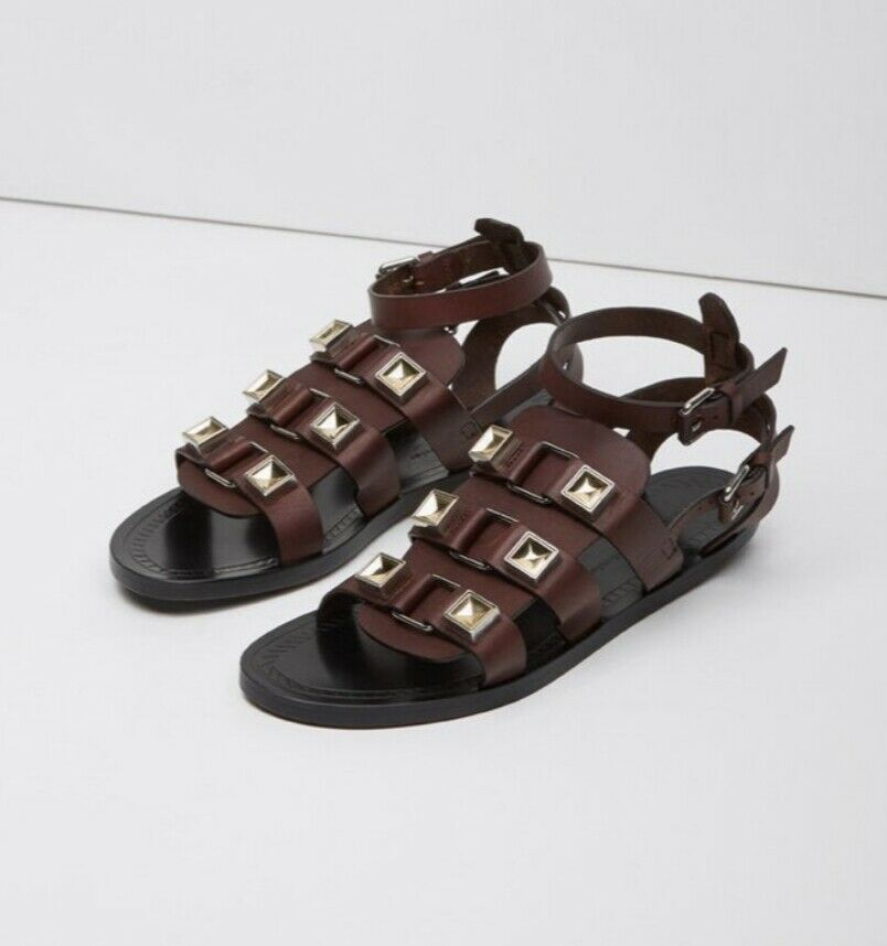 875 PROENZA SCHOULER Women's Brown Cola Gladiator Studded Flat Sandals Size 40