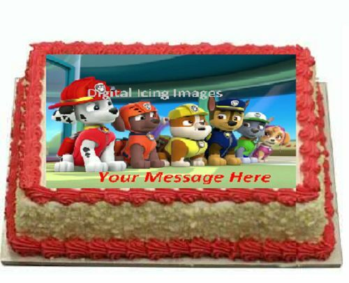 Paw Patrol A4 Edible Icing Cake Topper